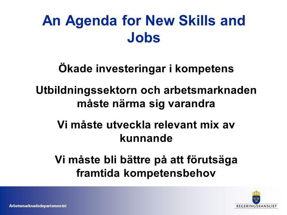 Arbetsmarknadsdepartementet An Agenda for New Skills and Jobs Ökade investeringar i kompetens Utbildningssektorn och arbetsmarknaden måste närma sig varandra Vi måste utveckla relevant mix av kunnande Vi måste bli bättre på att förutsäga framtida kompetensbehov