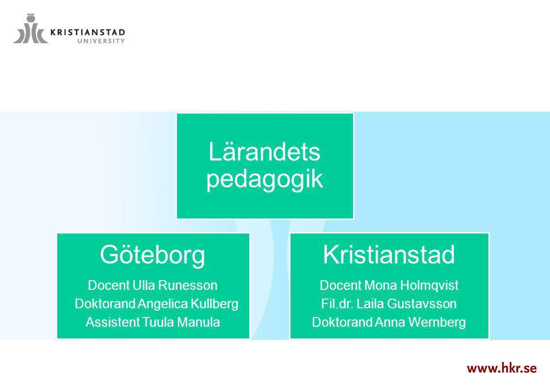 Lärandets pedagogik Göteborg Docent Ulla Runesson Doktorand Angelica Kullberg Assistent Tuula Manula Kristianstad Docent Mona Holmqvist Fil.dr. Laila