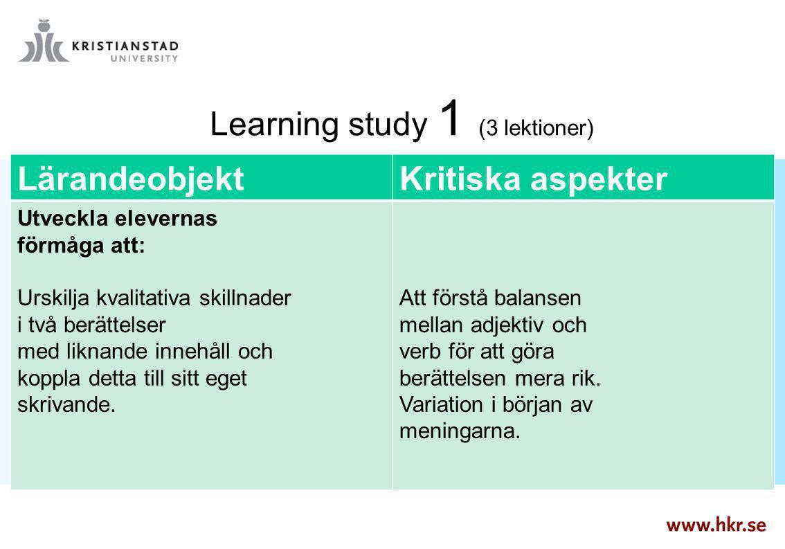 Learning study 1 (3 lektioner) LärandeobjektKritiska aspekter Utveckla elevernas förmåga att: Urskilja kvalitativa skillnader i två berättelser med li
