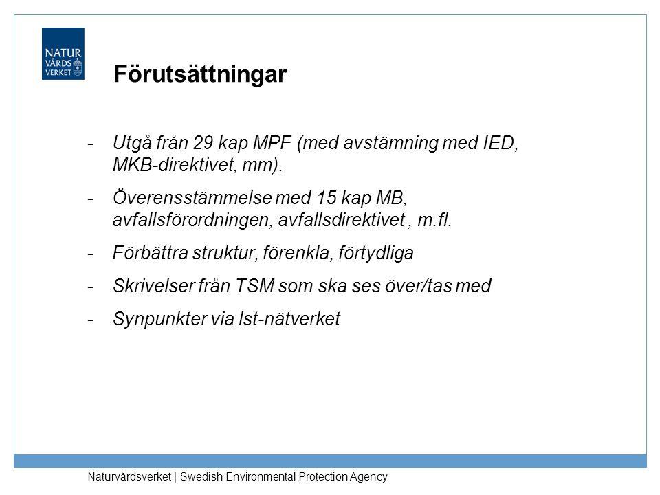 Förutsättningar -Utgå från 29 kap MPF (med avstämning med IED, MKB-direktivet, mm). -Överensstämmelse med 15 kap MB, avfallsförordningen, avfallsdirek