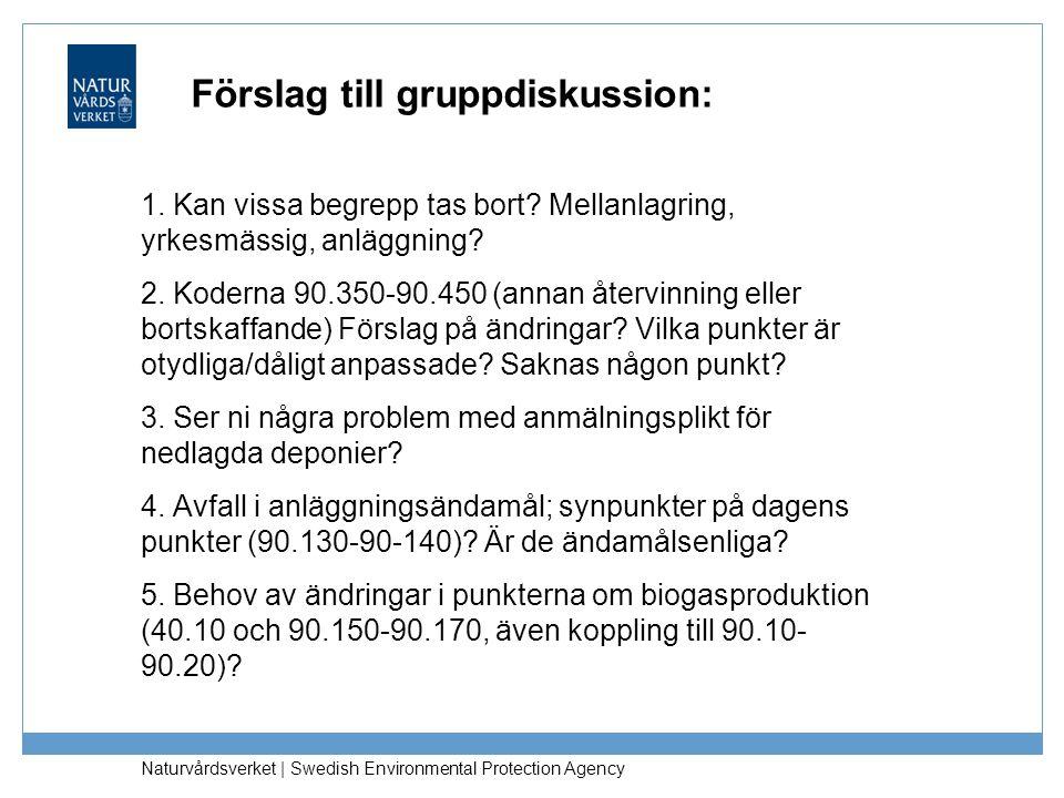 Förslag till gruppdiskussion: 1. Kan vissa begrepp tas bort? Mellanlagring, yrkesmässig, anläggning? 2. Koderna 90.350-90.450 (annan återvinning eller