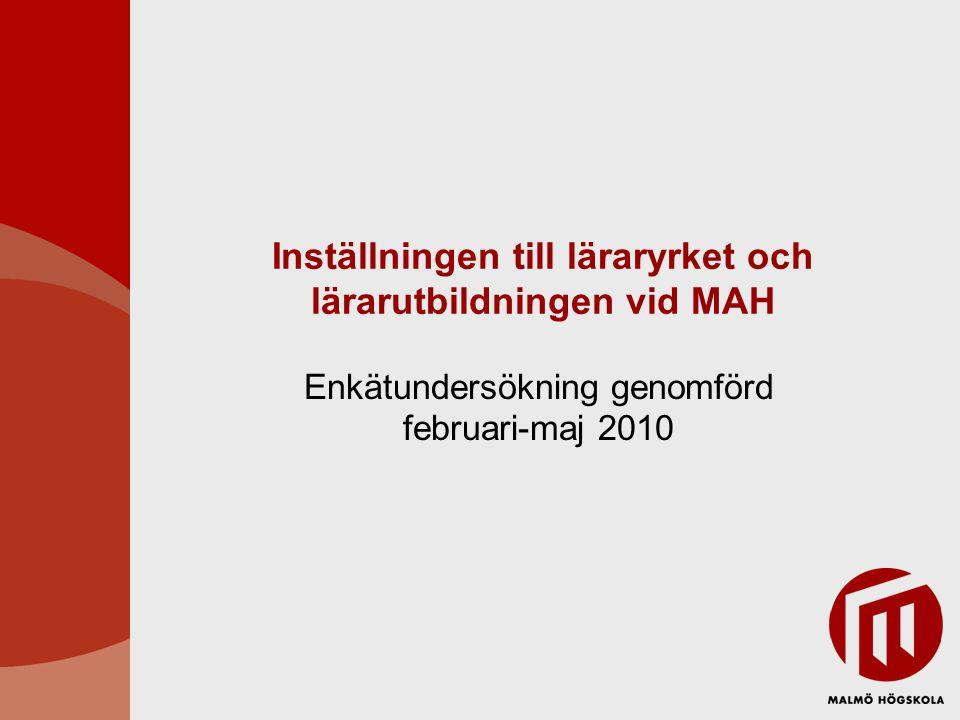 Inställningen till läraryrket och lärarutbildningen vid MAH Enkätundersökning genomförd februari-maj 2010