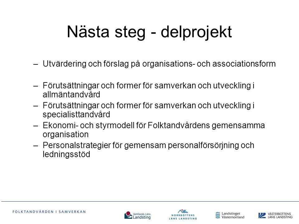 Nästa steg - delprojekt –Utvärdering och förslag på organisations- och associationsform –Förutsättningar och former för samverkan och utveckling i all