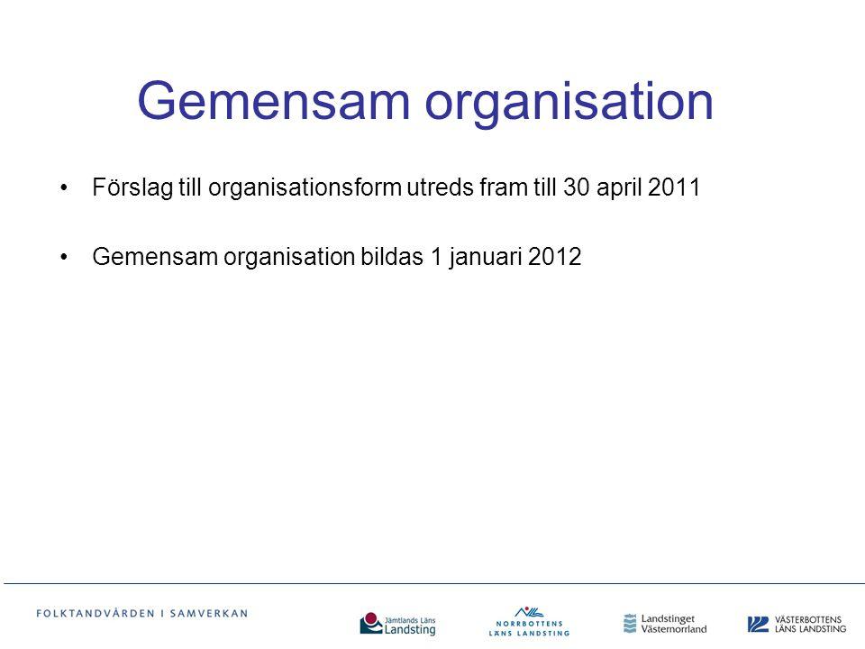 Gemensam organisation Förslag till organisationsform utreds fram till 30 april 2011 Gemensam organisation bildas 1 januari 2012
