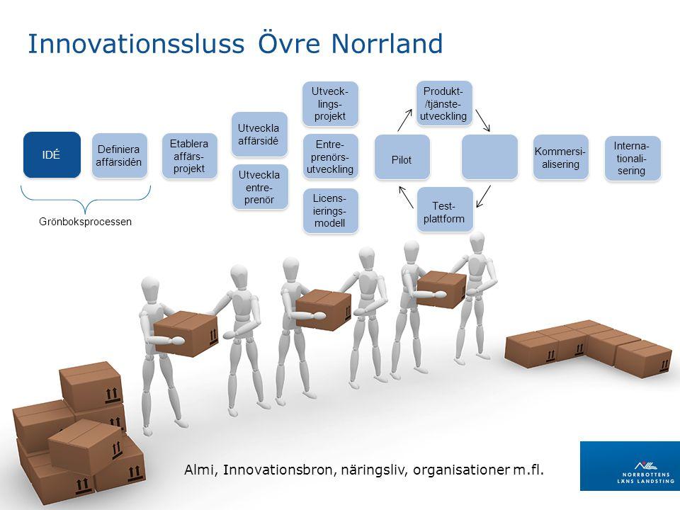 LANDSTINGSDIREKTÖRENS STAB Regional utveckling Innovationssluss Övre Norrland Almi, Innovationsbron, näringsliv, organisationer m.fl.