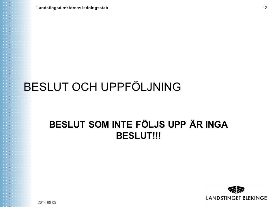 Landstingsdirektörens ledningsstab 12 BESLUT OCH UPPFÖLJNING BESLUT SOM INTE FÖLJS UPP ÄR INGA BESLUT!!! 2014-09-09