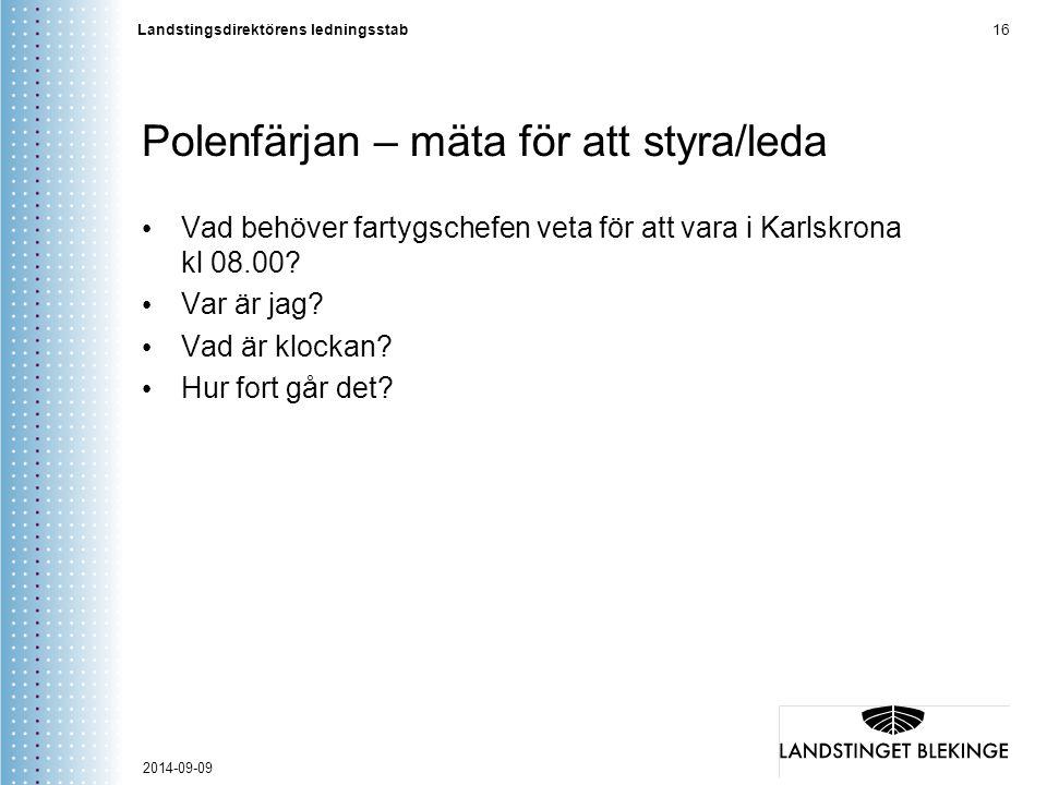 Landstingsdirektörens ledningsstab 16 Polenfärjan – mäta för att styra/leda Vad behöver fartygschefen veta för att vara i Karlskrona kl 08.00? Var är