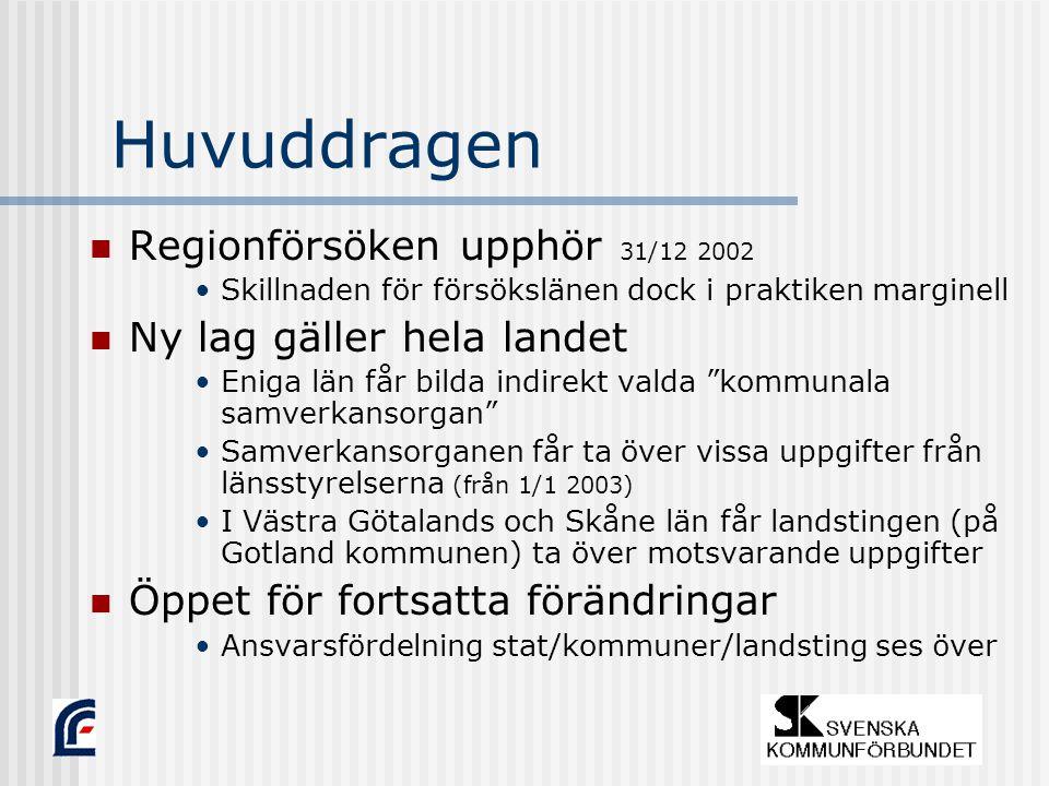Huvuddragen Regionförsöken upphör 31/12 2002 Skillnaden för försökslänen dock i praktiken marginell Ny lag gäller hela landet Eniga län får bilda indirekt valda kommunala samverkansorgan Samverkansorganen får ta över vissa uppgifter från länsstyrelserna (från 1/1 2003) I Västra Götalands och Skåne län får landstingen (på Gotland kommunen) ta över motsvarande uppgifter Öppet för fortsatta förändringar Ansvarsf ö rdelning stat/kommuner/landsting ses ö ver