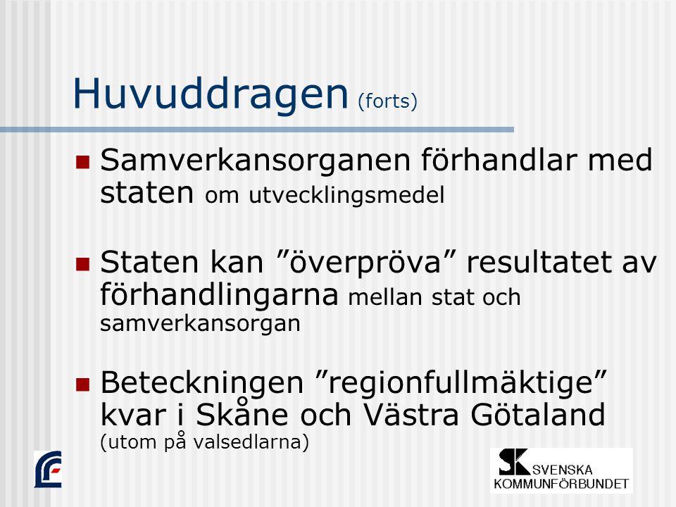 Huvuddragen (forts) Samverkansorganen förhandlar med staten om utvecklingsmedel Staten kan överpröva resultatet av förhandlingarna mellan stat och samverkansorgan Beteckningen regionfullmäktige kvar i Skåne och Västra Götaland (utom på valsedlarna)