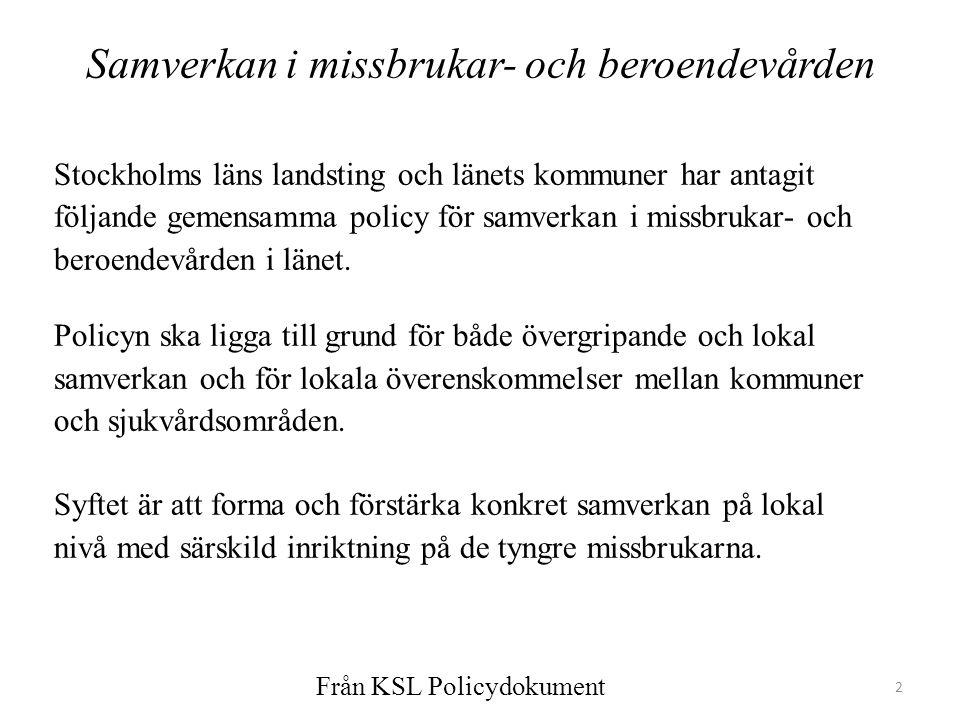 2 Samverkan i missbrukar- och beroendevården Stockholms läns landsting och länets kommuner har antagit följande gemensamma policy för samverkan i miss