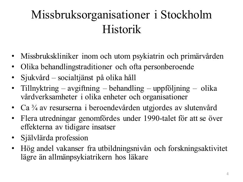 Olika behovsgrupper utifrån patienterna inom Beroendecentrum Stockholm Alkohol2/3Narkotika1/3Läkemedel 3 % Kriminalvård/rättspsykiatri 4 % Metadon/Subutex 8 % Dubbeldiagnoser 40-80 % PersonlighetsstörningarNeuropsykiatri Affektiva diagnoser Psykosdiagnoser Unga Komplexa vårdbehov 0,8 % av befolkningen Hemlösa ~ 4 % Kvinnor 1/3 GravidaPsykoterapi 2 % 15