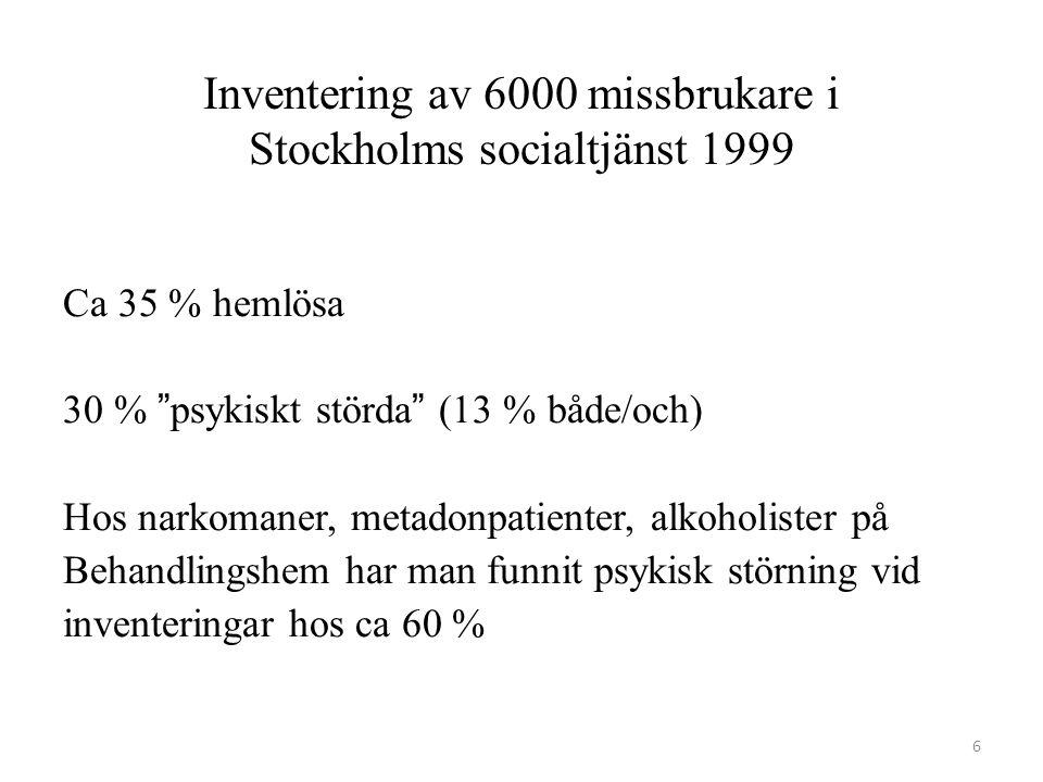 """Inventering av 6000 missbrukare i Stockholms socialtjänst 1999 Ca 35 % hemlösa 30 % """"psykiskt störda"""" (13 % både/och) Hos narkomaner, metadonpatienter"""