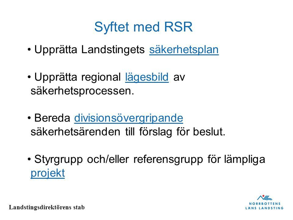 Landstingsdirektörens stab Syftet med RSR Upprätta Landstingets säkerhetsplansäkerhetsplan Upprätta regional lägesbild av säkerhetsprocessen.lägesbild