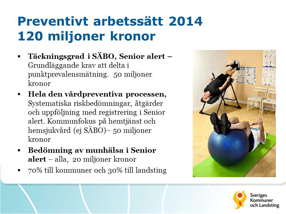 Preventivt arbetssätt 2014 120 miljoner kronor  Täckningsgrad i SÄBO, Senior alert – Grundläggande krav att delta i punktprevalensmätning. 50 miljone