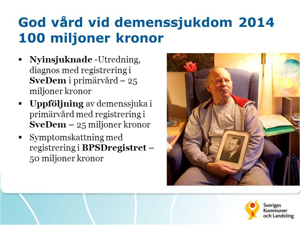 God vård vid demenssjukdom 2014 100 miljoner kronor  Nyinsjuknade -Utredning, diagnos med registrering i SveDem i primärvård – 25 miljoner kronor  U