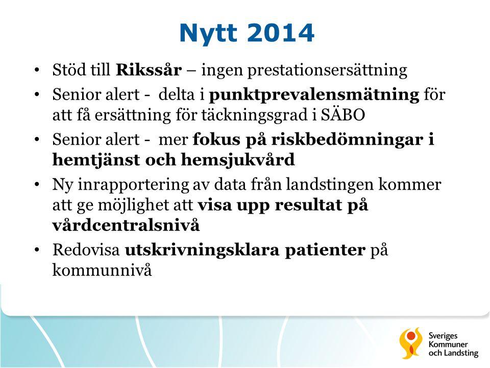 Nytt 2014 Stöd till Rikssår – ingen prestationsersättning Senior alert - delta i punktprevalensmätning för att få ersättning för täckningsgrad i SÄBO