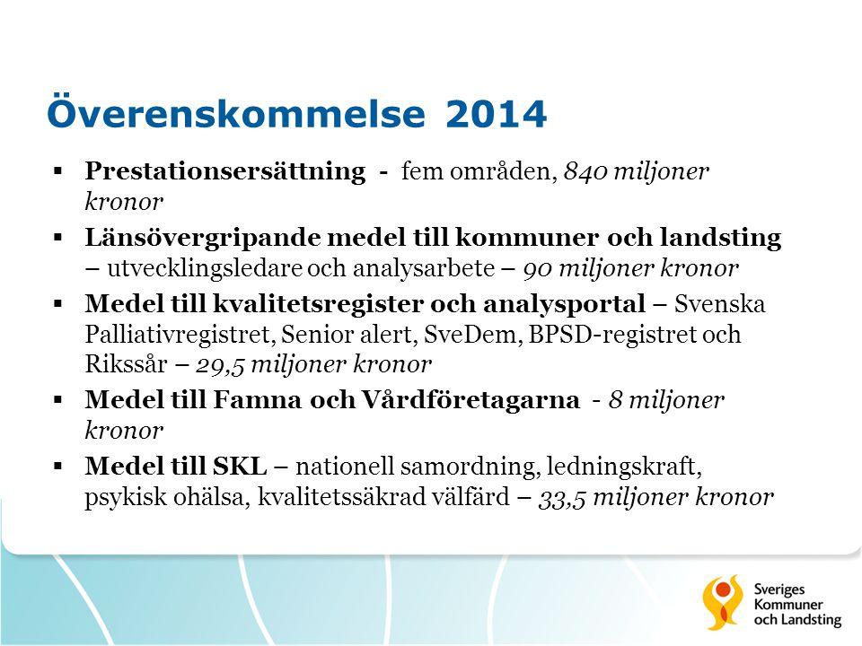 Överenskommelse 2014  Prestationsersättning - fem områden, 840 miljoner kronor  Länsövergripande medel till kommuner och landsting – utvecklingsleda