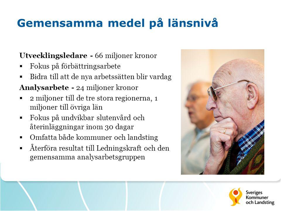 Gemensamma medel på länsnivå Utvecklingsledare - 66 miljoner kronor  Fokus på förbättringsarbete  Bidra till att de nya arbetssätten blir vardag Ana