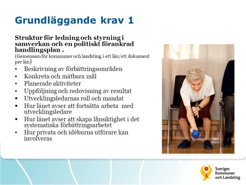 Grundläggande krav 2 Ledningssystem för systematiskt kvalitetsarbete (SOSFS 2011:9) (Kommuner och landsting var för sig, ett dokument per huvudman) Beskriva hur Riskanalys Egenkontroll Avvikelsehantering har bedrivits inom vård och omsorg om äldre  Vilka resultat som uppnåtts i arbetet med att säkra verksamheternas kvalitet