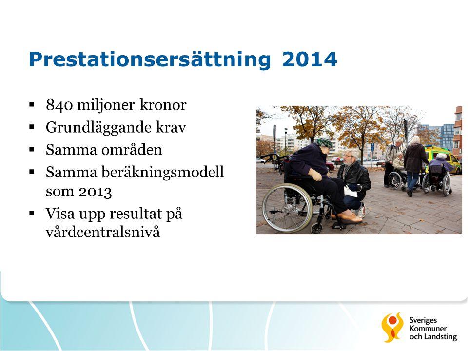 Prestationsersättning 2014  840 miljoner kronor  Grundläggande krav  Samma områden  Samma beräkningsmodell som 2013  Visa upp resultat på vårdcen