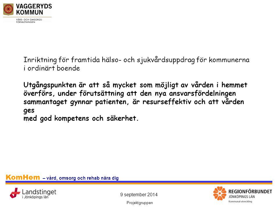 9 september 2014 Projektgruppen KomHem – vård, omsorg och rehab nära dig Inriktning för framtida hälso- och sjukvårdsuppdrag för kommunerna i ordinärt