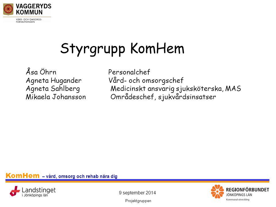 9 september 2014 Projektgruppen KomHem – vård, omsorg och rehab nära dig Styrgrupp KomHem Åsa ÖhrnPersonalchef Agneta HuganderVård- och omsorgschef Ag