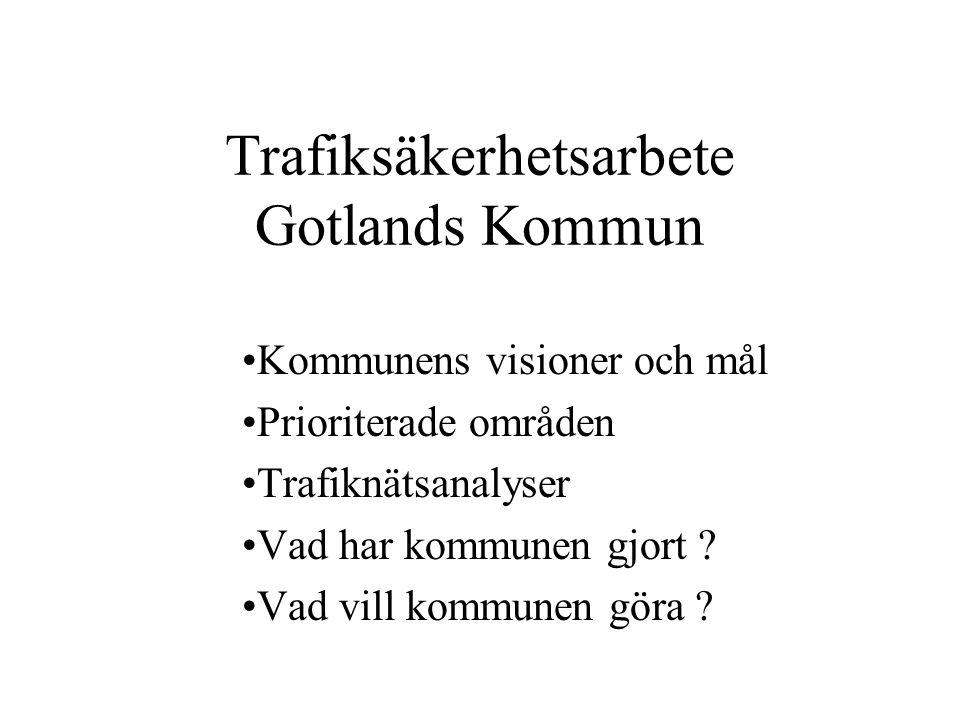 Trafiksäkerhetsarbete Gotlands Kommun Kommunens visioner och mål Prioriterade områden Trafiknätsanalyser Vad har kommunen gjort ? Vad vill kommunen gö