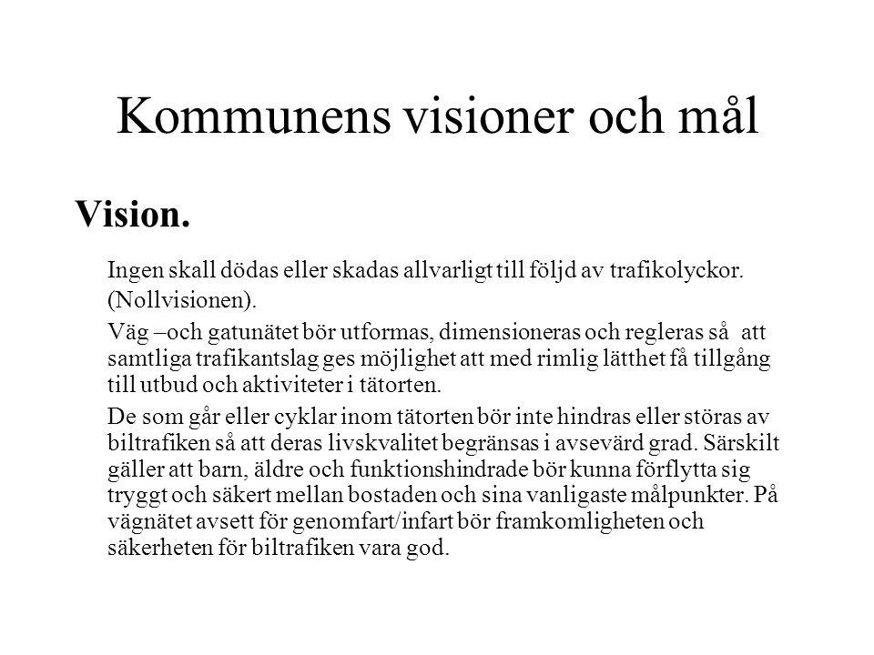 Kommunens visioner och mål Vision. Ingen skall dödas eller skadas allvarligt till följd av trafikolyckor. (Nollvisionen). Väg –och gatunätet bör utfor