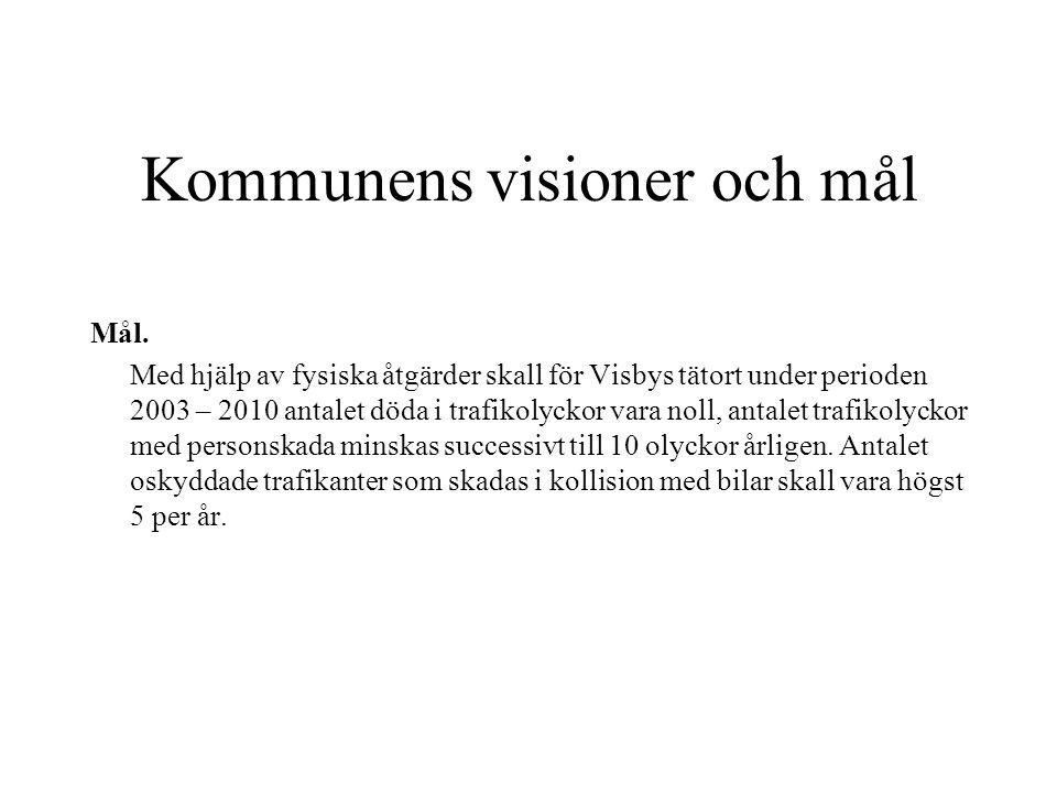 Kommunens visioner och mål Mål. Med hjälp av fysiska åtgärder skall för Visbys tätort under perioden 2003 – 2010 antalet döda i trafikolyckor vara nol