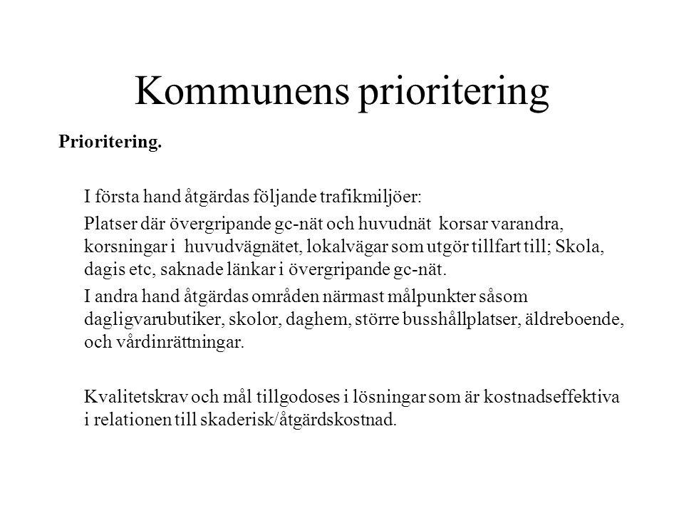 Kommunens prioritering Prioritering.