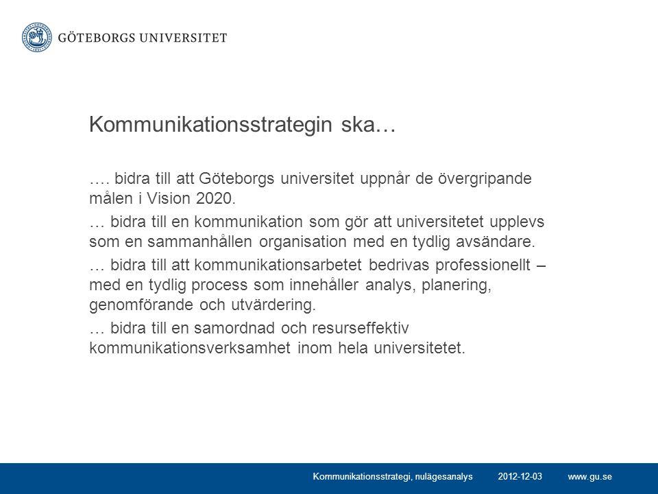 www.gu.se Kommunikationsstrategin ska… …. bidra till att Göteborgs universitet uppnår de övergripande målen i Vision 2020. … bidra till en kommunikati