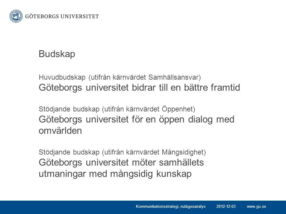 www.gu.se Budskap Huvudbudskap (utifrån kärnvärdet Samhällsansvar) Göteborgs universitet bidrar till en bättre framtid Stödjande budskap (utifrån kärn