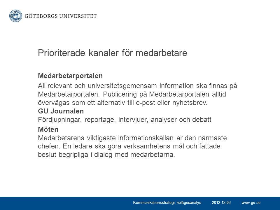 www.gu.se Prioriterade kanaler för medarbetare Medarbetarportalen All relevant och universitetsgemensam information ska finnas på Medarbetarportalen.