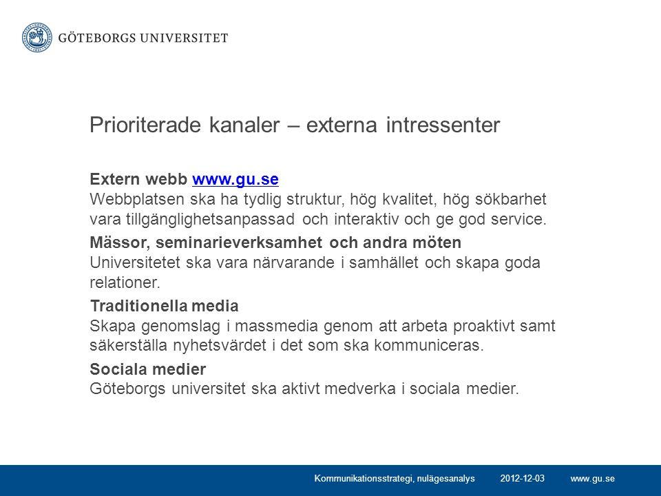 www.gu.se Prioriterade kanaler – externa intressenter Extern webb www.gu.se Webbplatsen ska ha tydlig struktur, hög kvalitet, hög sökbarhet vara tillg