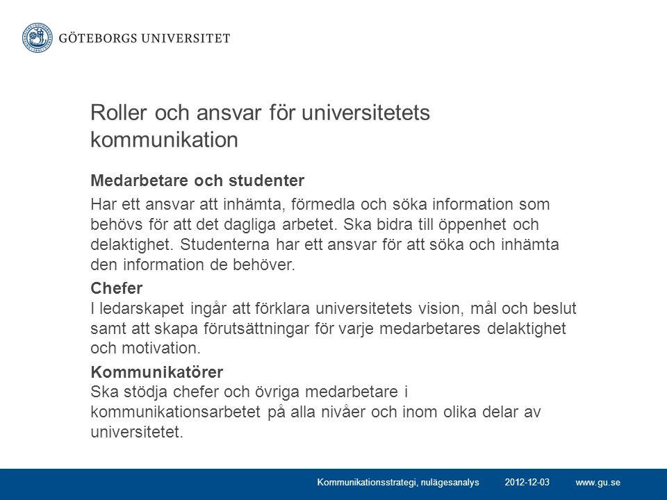 www.gu.se Roller och ansvar för universitetets kommunikation Medarbetare och studenter Har ett ansvar att inhämta, förmedla och söka information som behövs för att det dagliga arbetet.