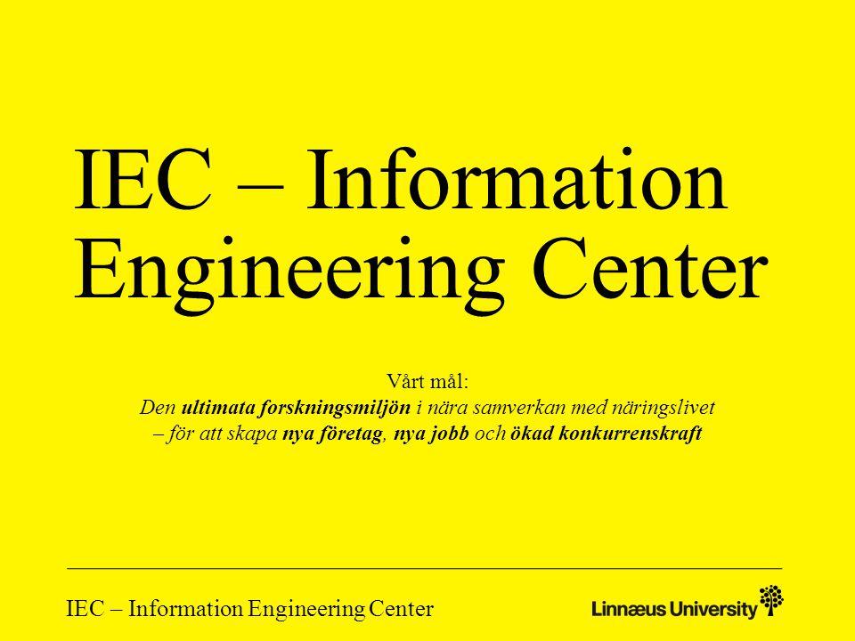 IEC – Information Engineering Center IEC – bakgrund och nuläge Vidareutveckling av WSCC (Web Services Competence Center) – När samverkan mellan forskare och IT-företagen i nätverket – Fokus på forskning, kunskapsförmedling och kompetensutveckling – Utvecklingsprojekt, workshops, konferenser, utbildning m m Lärdom från WSCC: Vi är ämnesoberoende.