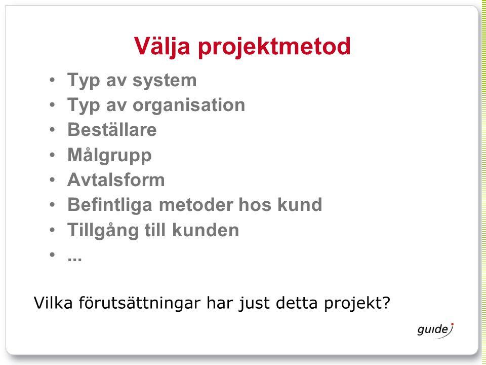 Välja projektmetod Typ av system Typ av organisation Beställare Målgrupp Avtalsform Befintliga metoder hos kund Tillgång till kunden... Vilka förutsät