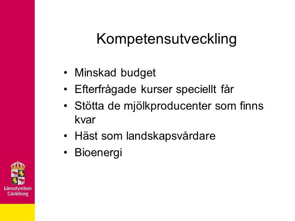 Kompetensutveckling Minskad budget Efterfrågade kurser speciellt får Stötta de mjölkproducenter som finns kvar Häst som landskapsvårdare Bioenergi