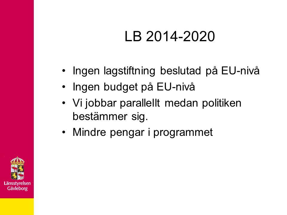 LB 2014-2020 Ingen lagstiftning beslutad på EU-nivå Ingen budget på EU-nivå Vi jobbar parallellt medan politiken bestämmer sig. Mindre pengar i progra