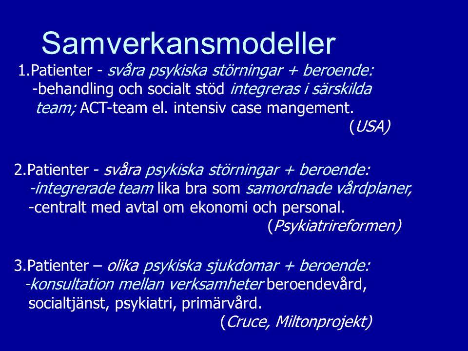 12 Samverkansmodeller 1.Patienter - svåra psykiska störningar + beroende: -behandling och socialt stöd integreras i särskilda team; ACT-team el. inten
