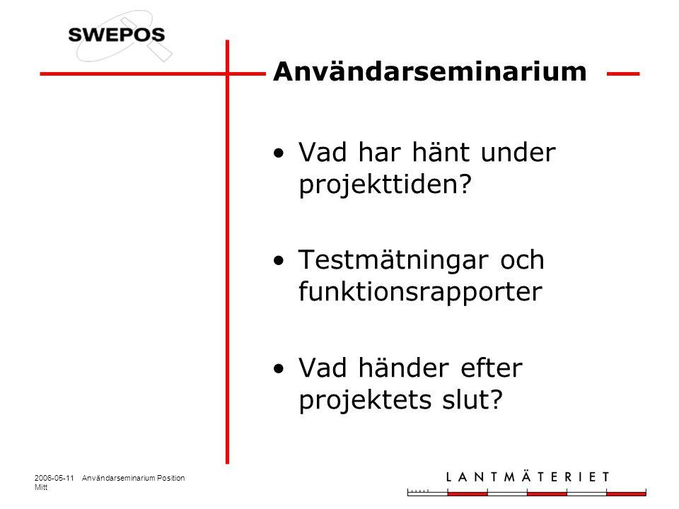 2006-05-11 Användarseminarium Position Mitt Användarseminarium Vad har hänt under projekttiden? Testmätningar och funktionsrapporter Vad händer efter