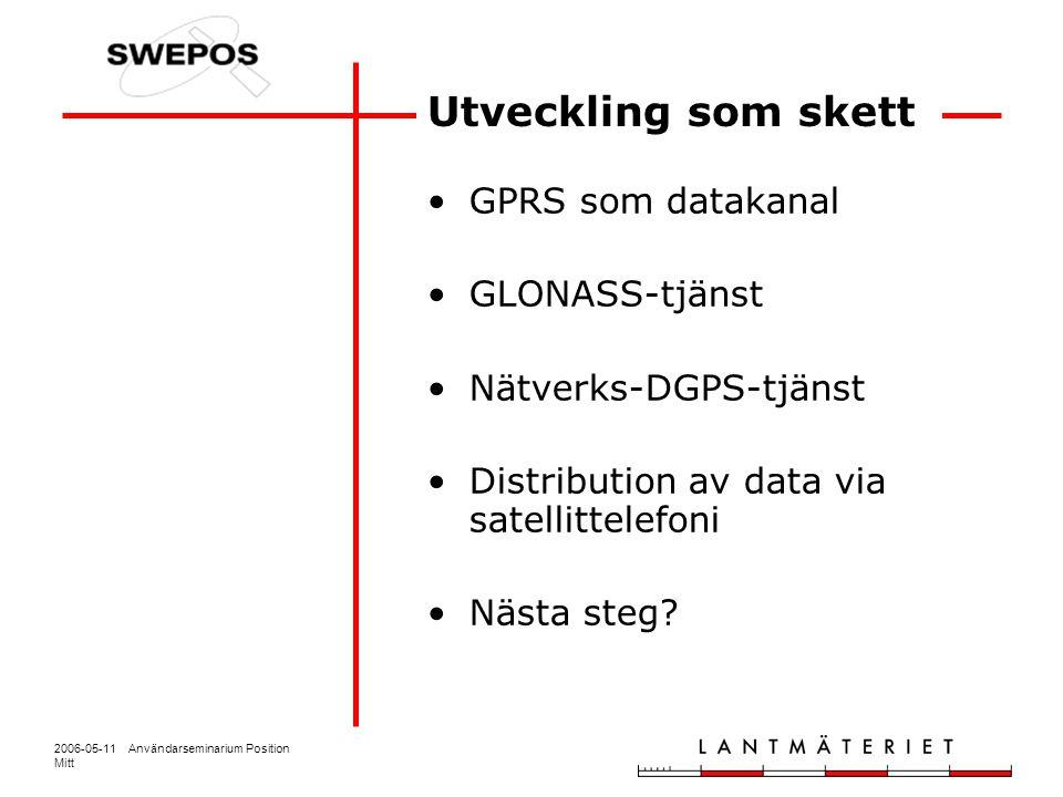 2006-05-11 Användarseminarium Position Mitt Utveckling som skett GPRS som datakanal GLONASS-tjänst Nätverks-DGPS-tjänst Distribution av data via satel