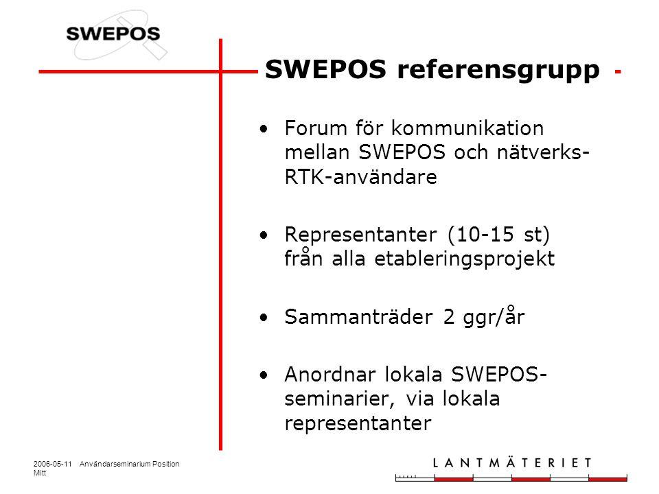 2006-05-11 Användarseminarium Position Mitt Forum för kommunikation mellan SWEPOS och nätverks- RTK-användare Representanter (10-15 st) från alla etab