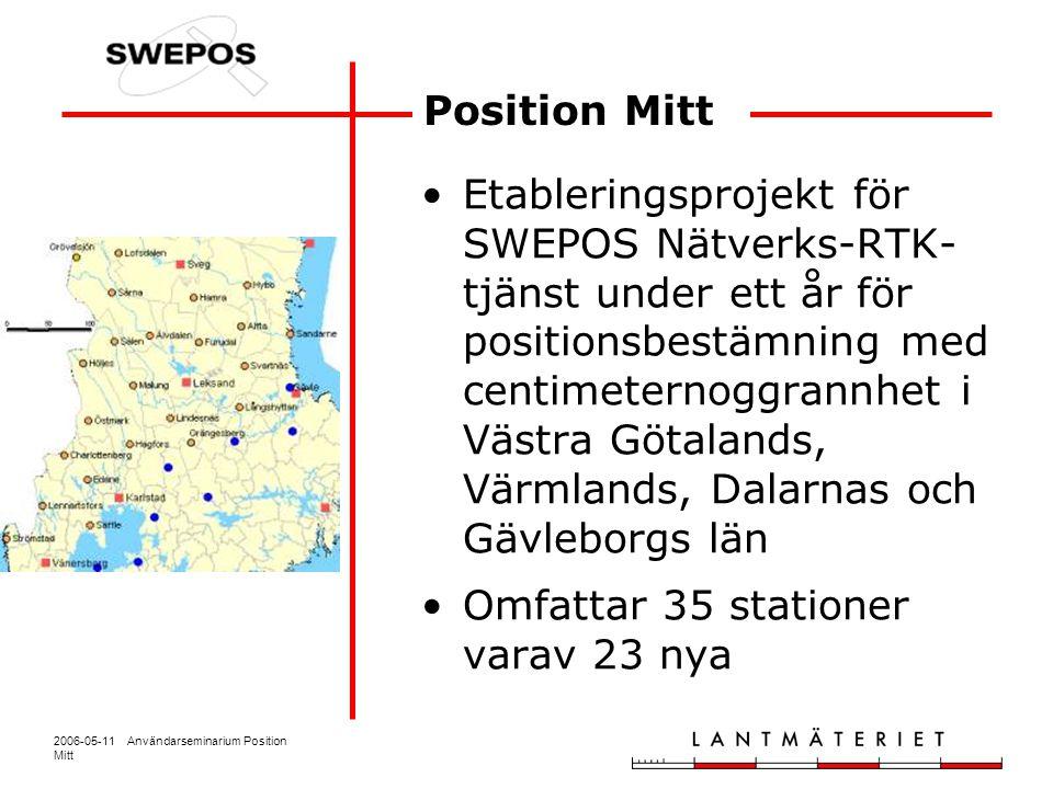 2006-05-11 Användarseminarium Position Mitt Projektets mål Fördjupad erfarenhet av användning av nätverks-RTK Utarbetande av rutiner för transformation från SWEREF 99 till lokala system Upptäcka vilka vinster det finns i att introducera nätverks-RTK i befintliga organisationer som arbetar med detaljmätning Produktionsmätning med nätverks-RTK