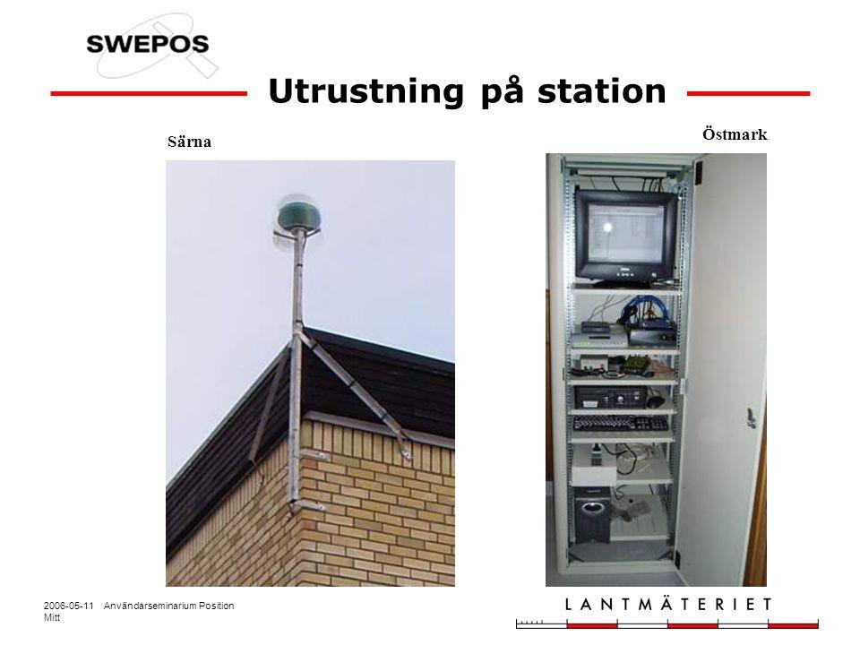 2006-05-11 Användarseminarium Position Mitt Särna Östmark Utrustning på station