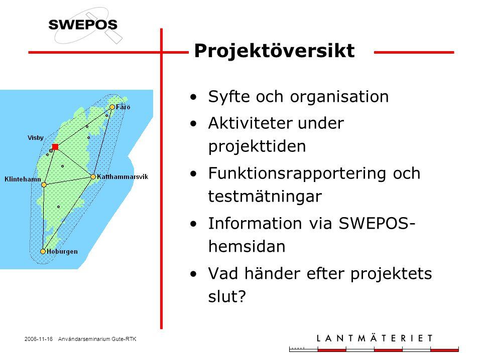 2006-11-16 Användarseminarium Gute-RTK Projektöversikt Syfte och organisation Aktiviteter under projekttiden Funktionsrapportering och testmätningar I