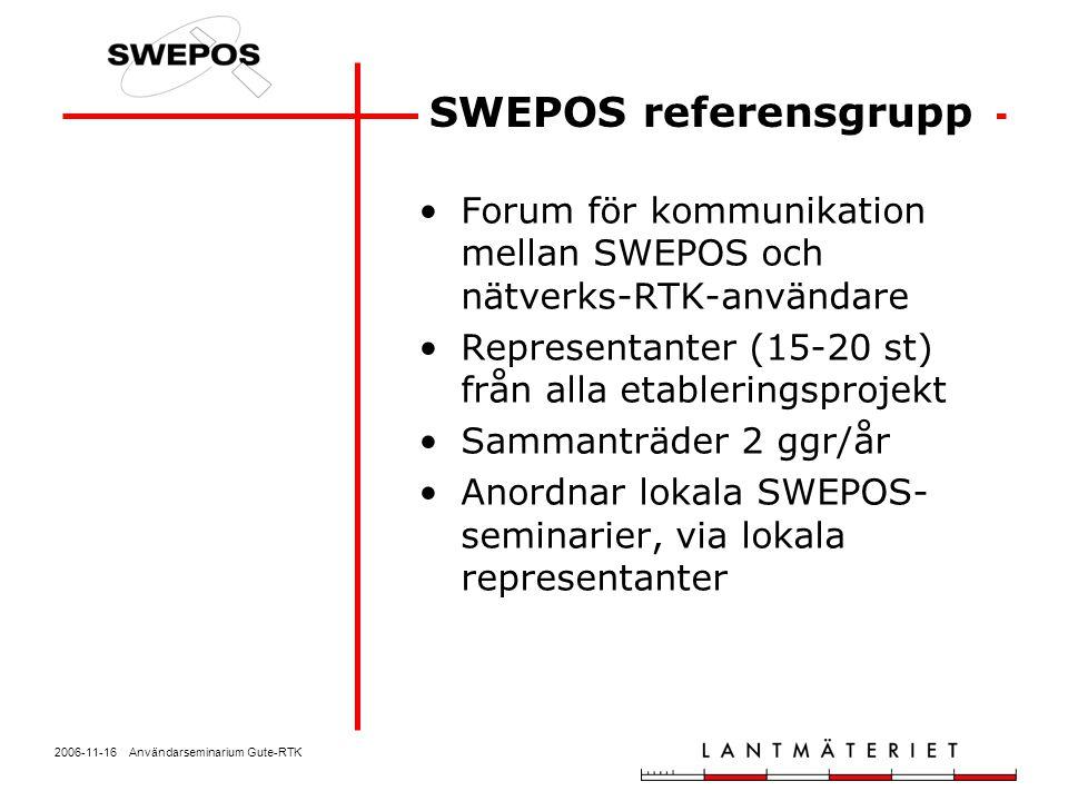 2006-11-16 Användarseminarium Gute-RTK Forum för kommunikation mellan SWEPOS och nätverks-RTK-användare Representanter (15-20 st) från alla etablering