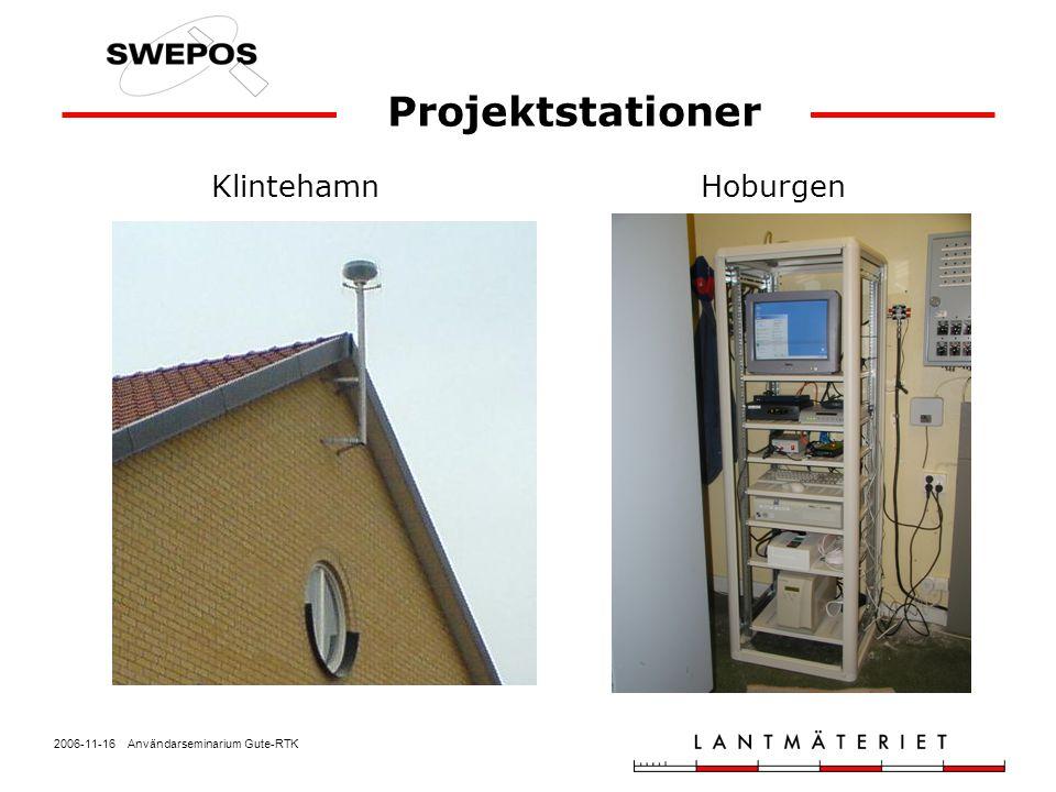 2006-11-16 Användarseminarium Gute-RTK Projektets mål Fördjupad erfarenhet av användning av nätverks-RTK Utarbetande av rutiner för transformation från SWEREF 99 till lokala system Upptäcka vilka vinster det finns i att introducera nätverks-RTK i befintliga organisationer som arbetar med detaljmätning Produktionsmätning med nätverks-RTK