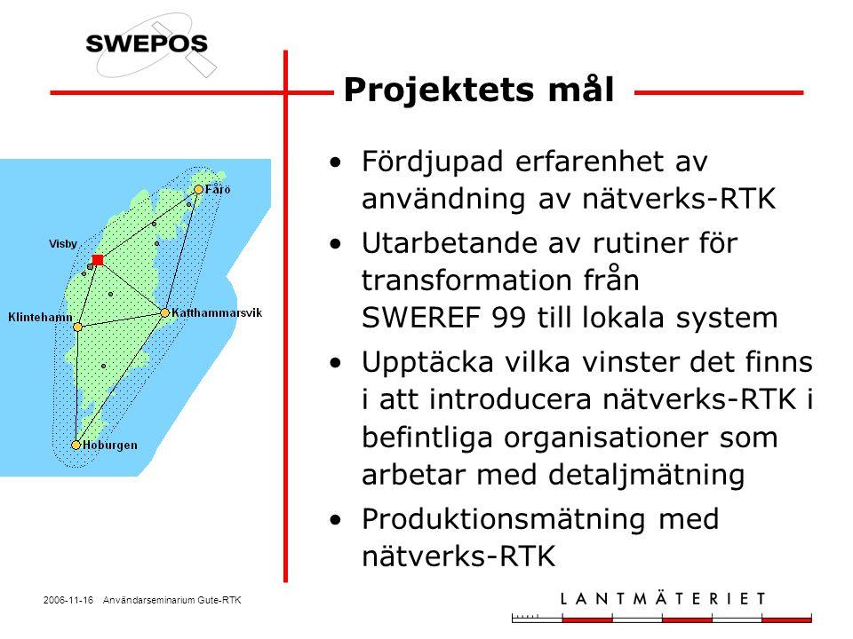 2006-11-16 Användarseminarium Gute-RTK SWEPOS Nätverks-RTK- tjänst (GPS) A – obegränsad datamängd B – per datauttag Anslutningsavgift5 000 kr 1-5 anslutningar14 000 kr/ år och anslutning 6– anslutningarOffert Per datauttag5 000 kr/år och anslutning, samt 5 kr/min (takpris 14 000 kr) Rabatt för deltagare i Gute-RTK om anmälning sker direkt efter projektet!
