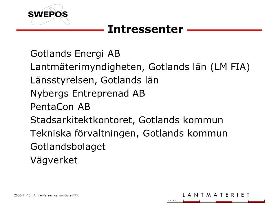 2006-11-16 Användarseminarium Gute-RTK Intressenter Gotlands Energi AB Lantmäterimyndigheten, Gotlands län (LM FIA) Länsstyrelsen, Gotlands län Nyberg